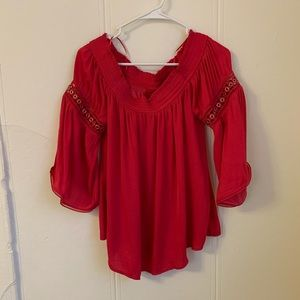 Jennifer Lopez Jeweled Red Blouse Size Large